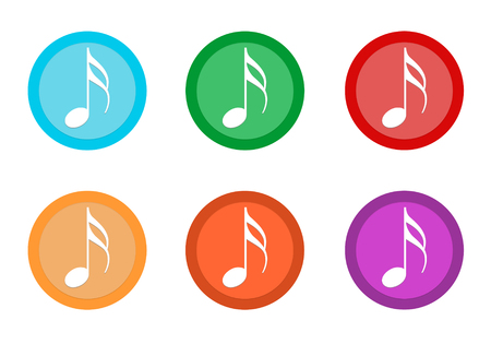 Set of rounded colorful buttons with music symbol in blue, green, yellow, orange, purple and red colors Imagens