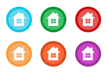 Set of rounded colorful buttons with house symbol in blue, green, yellow, red, purple and orange colors