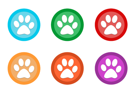 Set of rounded colorful buttons with pet footprints symbol in blue, green, red, yellow, pink and orange colors