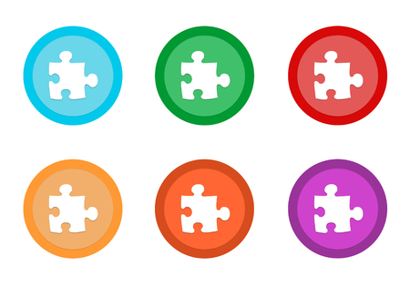 Set of rounded colorful buttons with puzzle symbol in blue, green, yellow, orange, purple and red colors