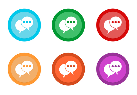 Set of rounded colorful buttons with bubble speech symbol in blue, green, yellow, red, purple and orange colors Stock Photo