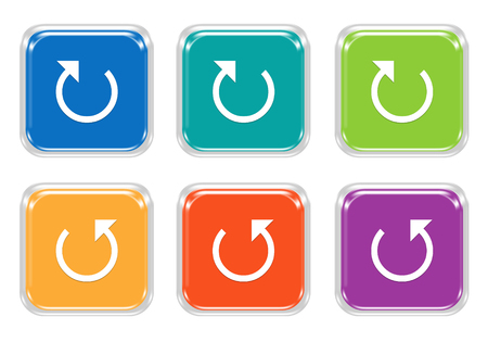 Set of rounded square colorful buttons with arrow and reload symbol in blue, green, yellow, purple and orange colors
