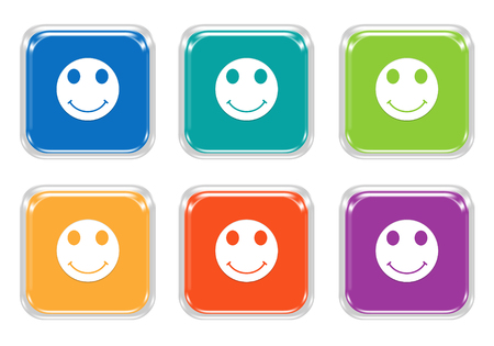 Set of rounded square colorful buttons with smile face symbol in blue, green, yellow, orange, purple and red colors Stock Photo