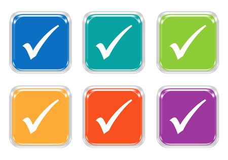 青、緑、黄色、紫、オレンジ色のチェック記号が丸みを帯びた正方形のカラフルなボタンのセット