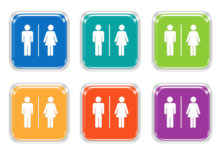 Set of rounded square colorful buttons with man and woman symbol in blue, green, yellow, purple and orange colors 写真素材