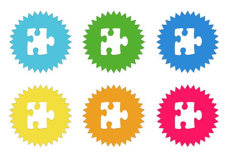 Set of rounded colorful sticker icons with puzzle symbol in blue, green, yellow, cyan, pink and orange colors