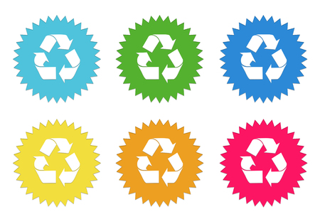Set of rounded colorful sticker icons with recycle symbol in blue, green, yellow, cyan, pink and orange colors