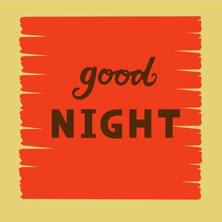 Vector illustration of good night  text flyer, banner, greeting card. Vettoriali