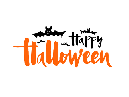 Vector illustration of Happy Halloween with bat, spider and web for banner, greeting card, party invitation, postcard, typography poster.Handwritten lettering. Holiday calligraphy quote on background.