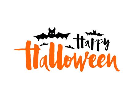 Ilustración de vector de feliz Halloween con murciélago, araña y web para banner, tarjeta de felicitación, invitación a fiesta, postal, cartel de tipografía. Letras manuscritas. Cita de caligrafía de vacaciones en el fondo. Ilustración de vector