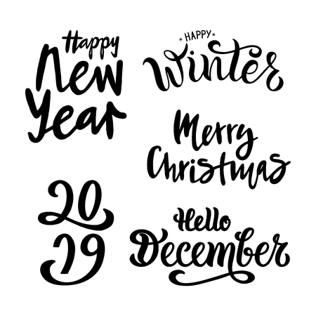 Winter vector illustration set. Handwritten modern lettering. Season life style inspiration quotes for calender, invitation, greeting card, postcard. Calligraphy graphic design element on background. Illustration