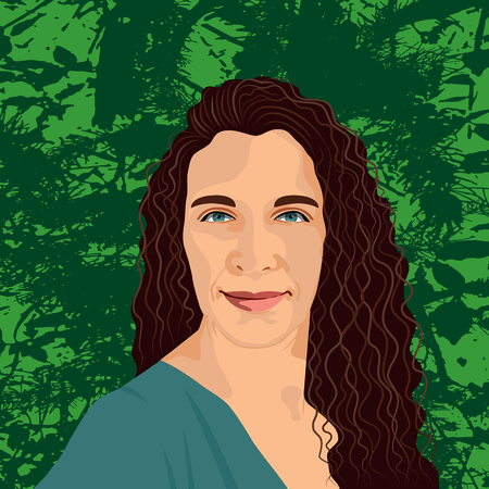 Beautiful woman portrait on green textured background. Attractive female with long curly hair. Vector Illustration EPS 10.