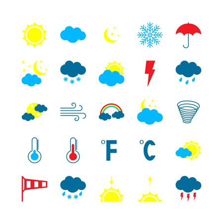 Ensemble d'icônes météo modernes. Illustration vectorielle plane. Vecteurs