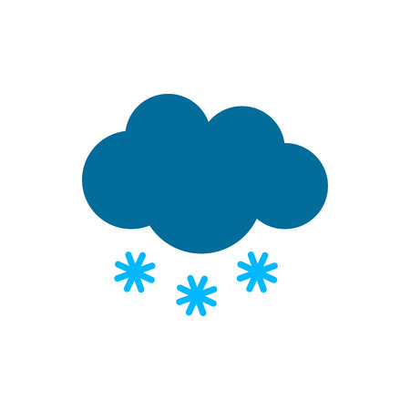 Cloud with snow silhouette weather icon. Flat vector illustration. Blue symbols isolated on white background for print or web.