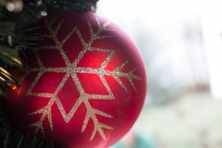 A red christmas ornament hanging from a tree