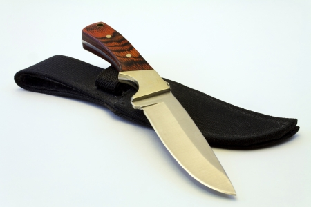 A steel knife with a wooden handle sitting on top of its sheath