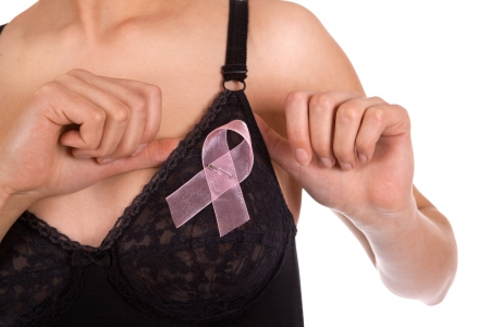 Medical aid against AIDS, HIV, cancer. Woman with a pink ribbon on the chest photo