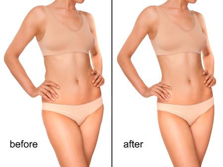 mujer desnuda de espalda: Color carne Ropa interior en una chica con una figura esbelta Foto de archivo
