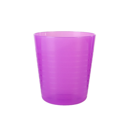 liter: Purple plastic water glass isolated on a white background