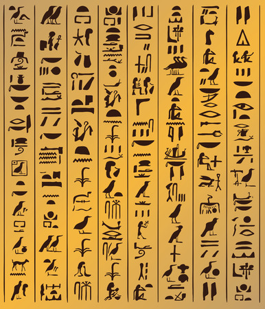 decoding: Illustration of Egyptian ornaments and hieroglyphs