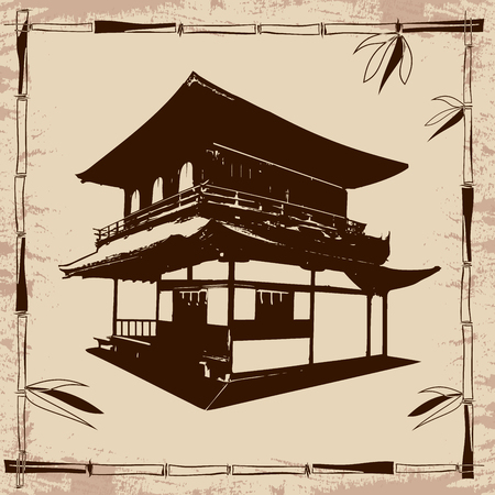 ideogram: Vector drawing Japanese house and branches of bamboo on beige papyrus.