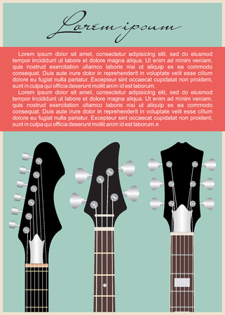 fingerboard: Neck electric guitar strung and speakers. Illustration