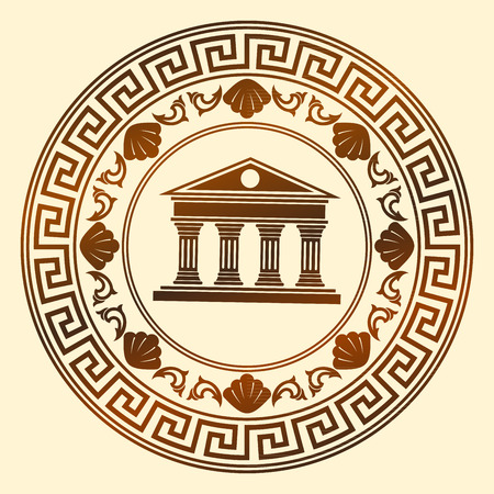 olympian: Vector Greece ornament. Temple of the Olympian gods with columns and graphic elements. Illustration