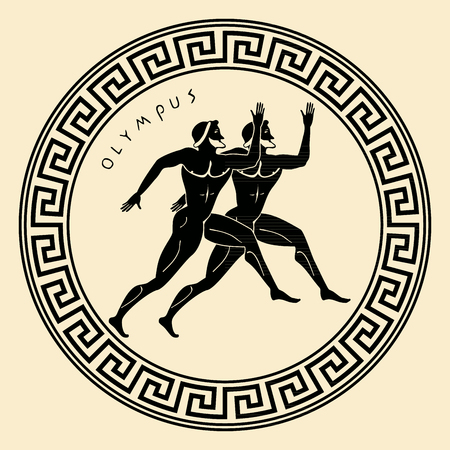 gods: Vector Greece ornament. Temple of the Olympian gods with columns and graphic elements. Illustration