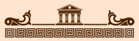 Vector Greek ornament. Temple of the Olympian gods with columns and graphic elements.