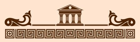arte greca: Vector greca ornamento. Tempio degli dei dell'Olimpo con colonne ed elementi grafici.