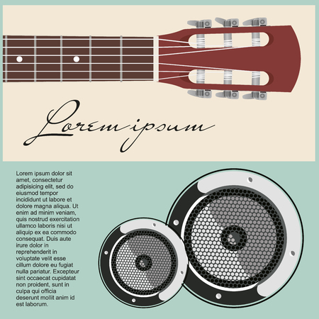 Neck of acoustic guitar with strung and speakers.  Illustration
