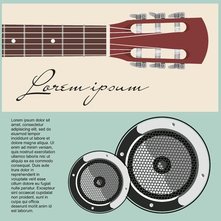 Collo della chitarra acustica con infilate e altoparlanti.