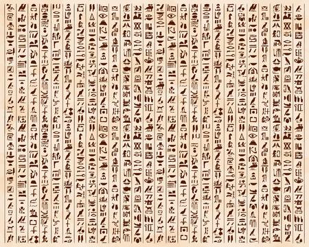 Illustrazione vettoriale di ornamenti e geroglifici egiziani su uno sfondo beige con l'effetto di invecchiamento. Archivio Fotografico - 56174082