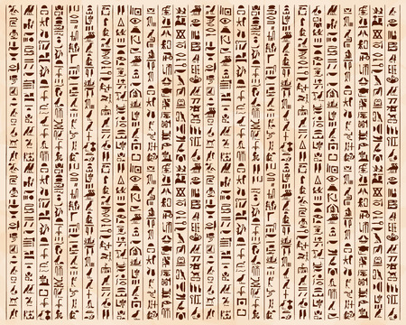 Vector illustration of Egyptian ornaments and hieroglyphs on a beige background with the effect of aging. 免版税图像 - 56174082