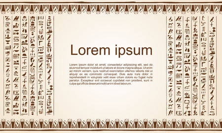 Vector illustration of Egyptian papyrus with ornaments and hieroglyphs on a beige background.