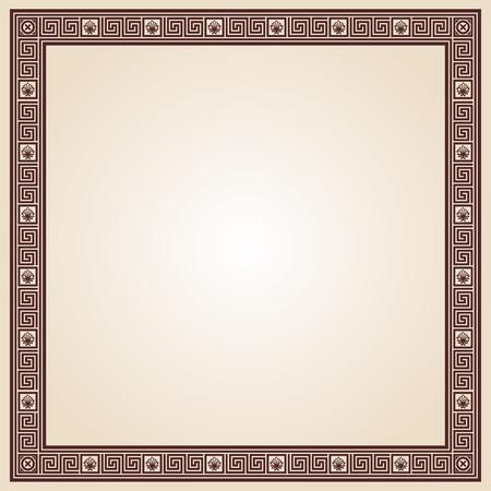 brown pattern: Greek style frame ornament. Brown pattern on a beige background. Illustration