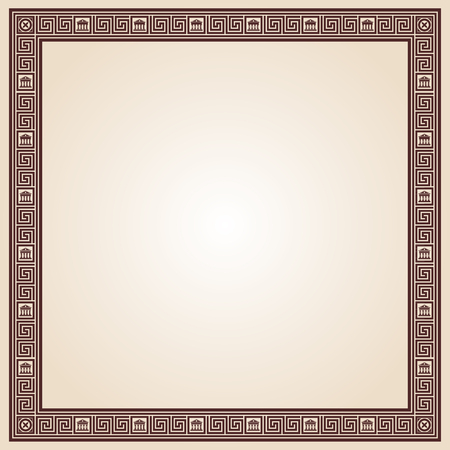 hercules: Greek style frame ornament. Brown pattern on a beige background. Illustration