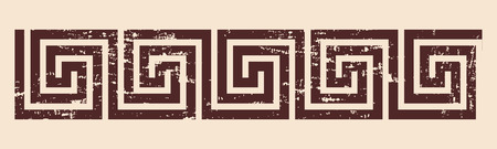 hercules: Greek style frame ornament with the effect of aging. Brown pattern on a beige background. Illustration