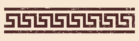 Greek style frame ornament with the effect of aging. Brown pattern on a beige background. 일러스트