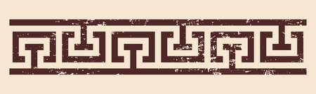 Griechischen Stil-Verzierung mit der Wirkung des Alterns. Brown-Muster auf einem beige Hintergrund.