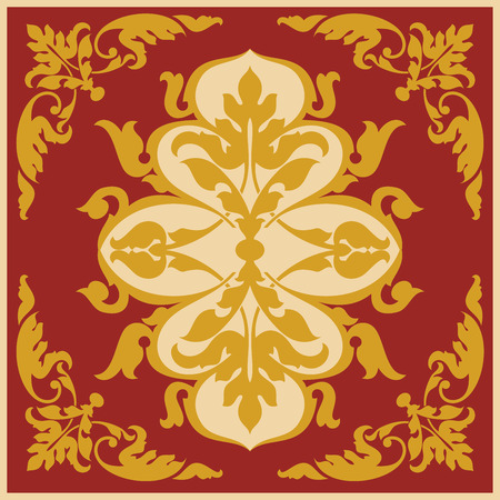 asiatic: Asian style frame. Oriental background. Gold ornament on a red background. EPS 10. Illustration