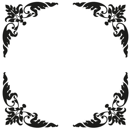 asiatic: Asian style frame. Oriental background. Black ornament on a white bg. EPS 10.