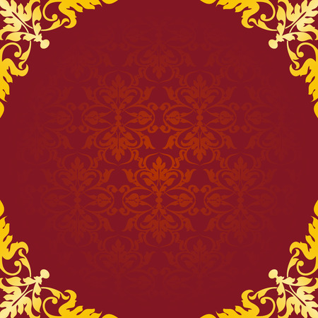 gold ornament: Asian style frame. Oriental background. Gold ornament on a red background. Circular ornament with angular elements. EPS 10.