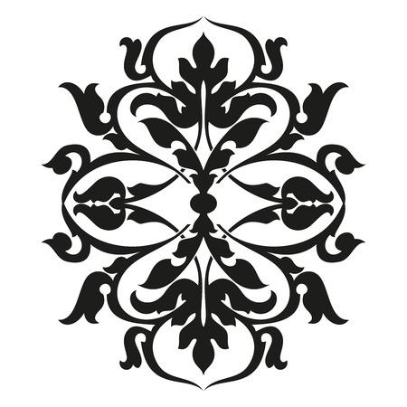 Asian style frame. Oriental background. Black ornament on a white bg. EPS 10.