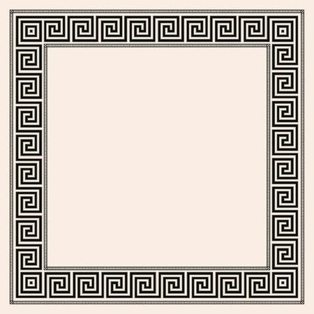 Greek style seamless ornament. Black pattern on a beige background. EPS 10