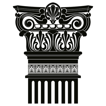 greek columns: Vector image of ancient Greek columns with pilasters. Illustration