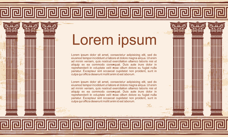 Vector Greek style frame ornament with columns and with the aging effect. Brown pattern on a beige background.