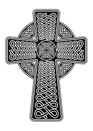 elongated: Celtic cross with interlacing ornament and an elongated base.