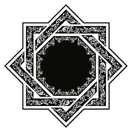 octagonal: East national ornament in the form of an octagonal star. Illustration