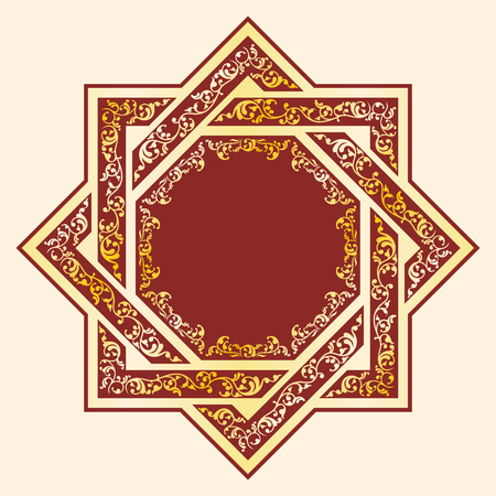 East national ornament in the form of an octagonal star. Gold ornament on a burgundy background. Illustration
